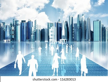 Illustration of people doing business inside the virtual world of internet
