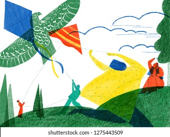 Illustration of people flying kite on spring lawn