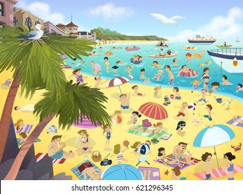 Illustration of people on the beach