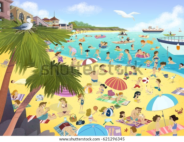 Illustration of people on the beach