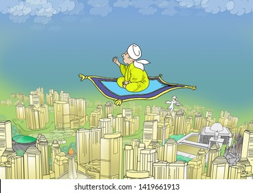 illustration of people riding carpet flying over the city