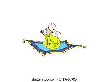 illustration of people riding a white bacground flying carpet