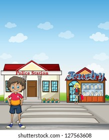 Illustration of a people standing in front of a police staiton and jewelry store