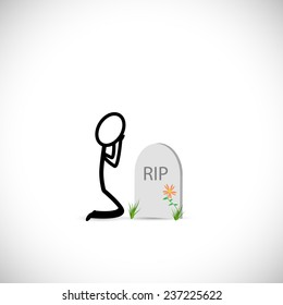 Illustration of a person mourning over a gravestone isolated on a white background.