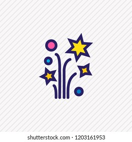 illustration of petard icon colored line. Beautiful event element also can be used as sparkle icon element.