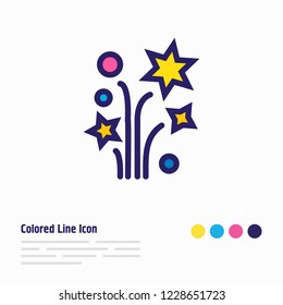 illustration of petard icon colored line. Beautiful celebrate element also can be used as sparkle icon element.