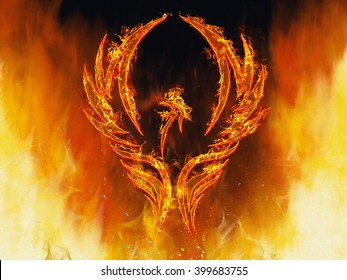 Illustration of a phoenix bird in flames with wings rising from a fiery furnace.