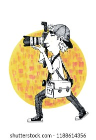 illustration of a photographer during shooting