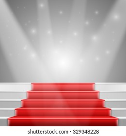 Illustration of Photorealistic Stairs with Red Carpet and Bright Luxury Event Background