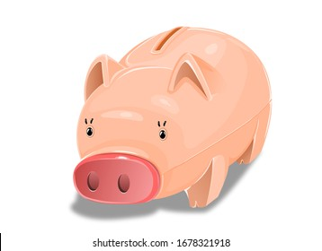 Illustration of a piggy bank symbolizing happiness.
