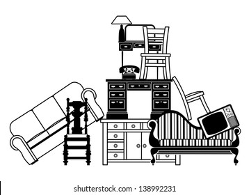 Illustration of a pile of furniture. Could be used for home insurance related or house clearance and moving home.