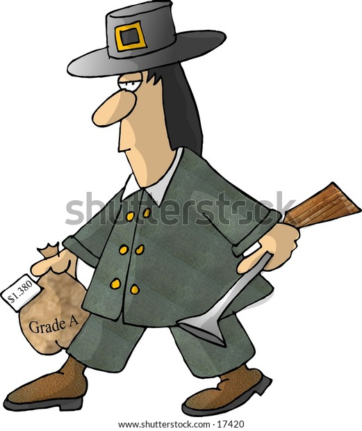 Illustration of a pilgrim in traditional attire carrying a blunderbust gun in one hand and a frozen turkey in the other.