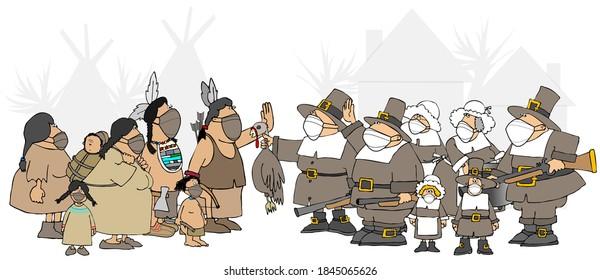 Illustration von Pilgern und Ureinwohnern, die sich treffen, um das erste Thanksgiving-Dinner mit Gesichtsmasken zu haben.