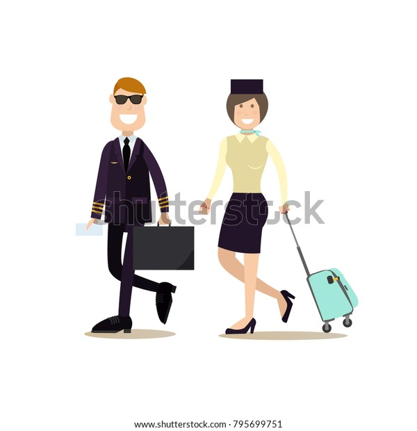 Illustration Pilot Stewardess Luggage Airline Staff Stock