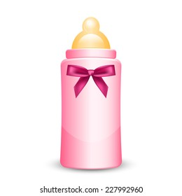 Illustration of pink baby bottle with bow