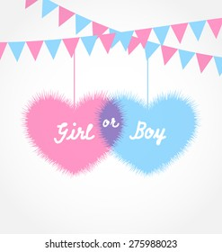 Illustration pink and blue baby shower in form hearts with hanging pennants - raster