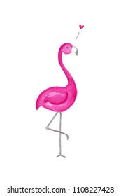 An illustration of a pink flamigo in love