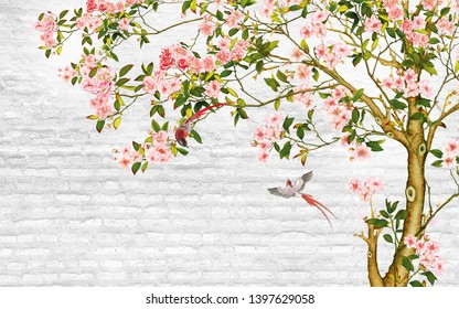 Illustration of Pink flower tree on decorative texture white brick wall background 3D wallpaper. Graphical poster modern art