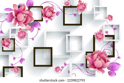 Illustration of Pink flowers on decorative 3D square background wallpaper