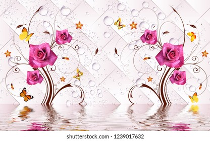 Illustration of pink rose flowers over water on decorative background 3D wallpaper