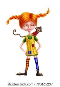 Illustration of Pippi Longstocking and a monkey