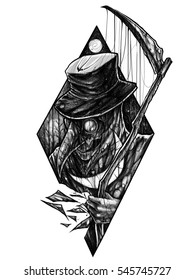 Illustration of a plague doctor.