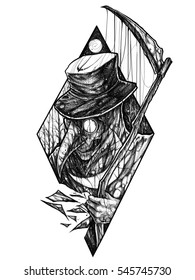 Illustration of plague doctor suggestive fear with scythe at the nigh forest with moon.