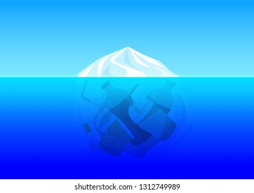 illustration plastic bag environment pollution with iceberg mountain glacier and trash garbage waste underwater ocean, concept dangerous from plastic bag and pollution environment ocean sea or river