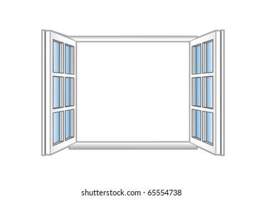 illustration a plastic open window.