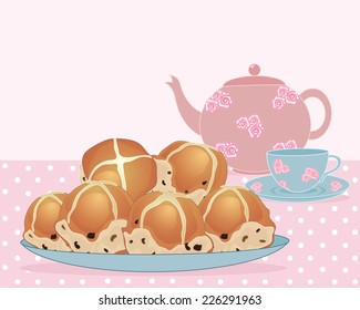 an illustration of a plate of tea buns with tea pot and cup and saucer on a pink spotty tablecloth with space for text