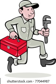 illustration of a plumber with monkey wrench and toolbox walking side  done in cartoon style on isolated background