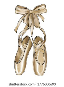 Illustration of pointe shoes on a white background.