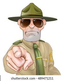 An illustration of a pointing angry drill sergeant character