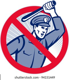 Illustration of a police officer wielding a truncheon nightstick baton set inside sign that means stop police brutality.