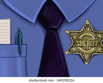 Illustration of police shirt with a tie and a sheriff star