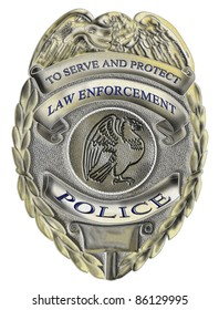 illustration of a policeman police officer law enforcement badge showing an American Eagle