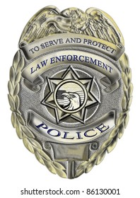 illustration of a policeman police officer law enforcement badge showing an American Eagle with star