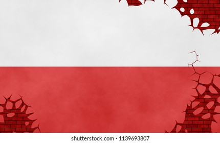 Illustration of a Polish flag, imitation of a painting on the cracked wall