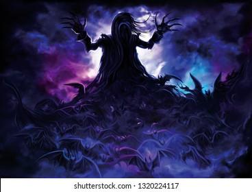 Illustration polymorph vampire turning into bats