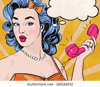 Illustration of Pop Art woman holding retro telephone with comic thought bubble. Call center advertising poster. Cute girl surprised by the conversation.