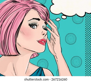 Illustration of Pop Art woman with thought bubble. Advertising poster of sad romantic pink hair girl.