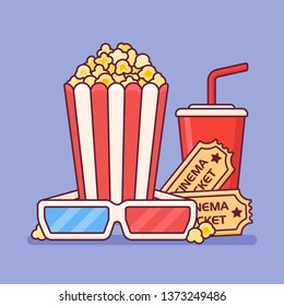 Illustration of popcorn bucket with cup of soda, cinema tickets and 3D glasses.