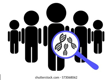 Illustration of population of individuals with genetic data under the magnifying glass