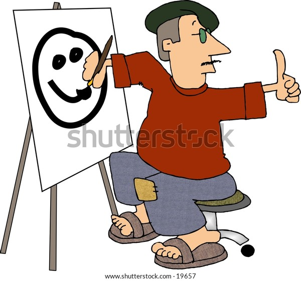 Illustration of a portrait painter painting a smiley face on canvas.