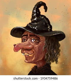 illustration of a portrait of an ugly old witch laughing with a toothless mouth. An old woman in a black witch's hat, with a large nose and a wart on it