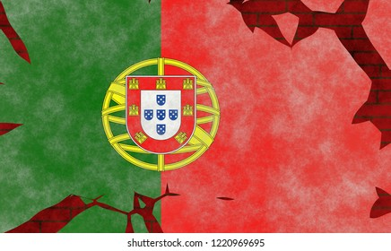 Illustration of a Portugal Flag, imitating of a painting on the old wall with cracks
