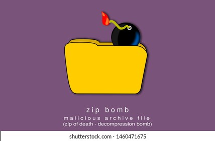 Illustration, poster of a zip bomb, a malicious archive file, also known as a zip of death or decompression bomb. Lilac background. Compressed file.