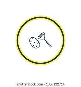 illustration of potato masher icon line. Beautiful kitchenware element also can be used as crusher icon element.