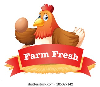Illustration of a poultry label on a white background