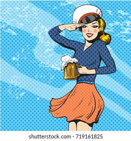 Illustration of pretty blonde girl with beer in sailor captain hat. Mariner woman saluting in retro pop art comic style.